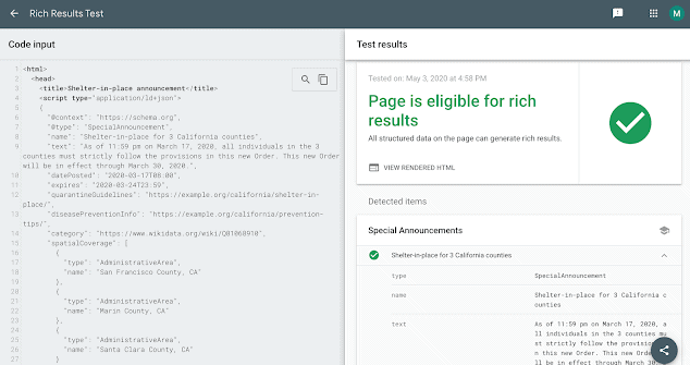Google Search Console - Structured Data Test for Special Announcements