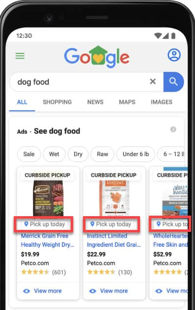 google shopping Curbside pickup label in your local inventory ads.